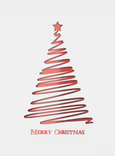 Abstract Christmas Card Printing - Red Tree