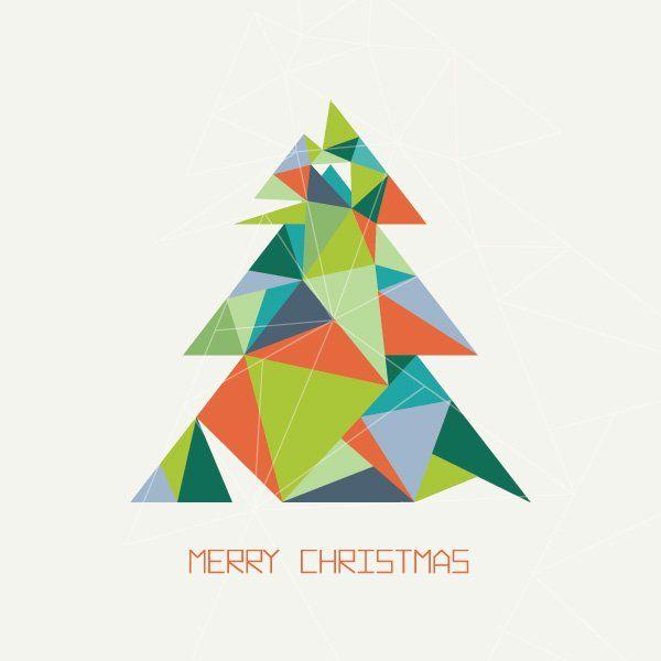 Abstract Christmas Card Printing - Angled Tree