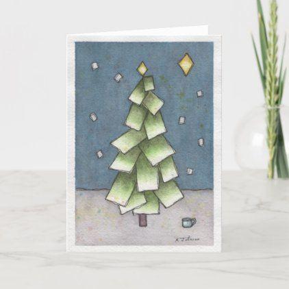 Abstract Christmas Card Printing - Green Paper Tree